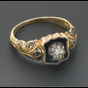 Antique Victorian Diamond & Enamel Shield Ring, 18k Gold Ring