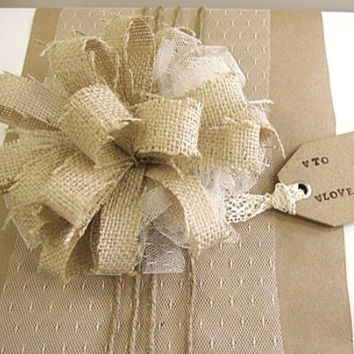 Gift wrap, burlap, lace, rustic  vintage, bow, Christmas present, jute, gift, gorgeous, beautiful, shabby chic, cottage