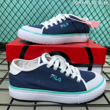 AUGUA F041 Fila Canvas Skate Shoes Dark Blue