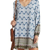 PAISLEY BORDER PRINT SHIFT DRESS