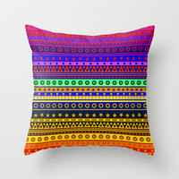 Rainbow Stripes Pattern Throw Pillow by Hippy Gift Shop