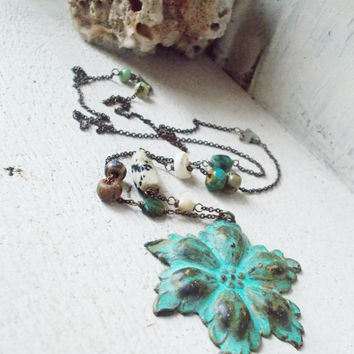 Aged brass flower necklace, beach inspired jewelry, mixed stone chain, tribal czech glass, large pendant, verdigris patina, floral charm