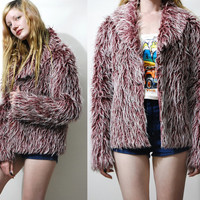 90s Vintage FAUX FUR Shaggy Yeti JACKET Fluffy Club Kid Rave Cyber Grunge Cropped Coat 1990s vtg S M