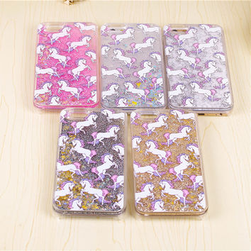 Unicorn Horse Dynamic Glitter Stars Dynamic Liquid Phone Case For iPhone 4 4S 5S SE 5C 6 6S 7 Plus Hard Protective Phone Cover