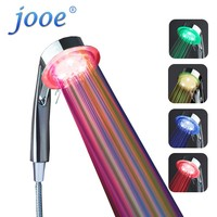 jooe DUCHE water temperature led shower head 7 Colors light Water Saving ABS With Chrome Bath showers bathroom accessories