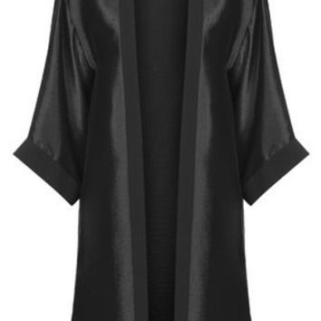 Crinkle Satin Duster Jacket - Black