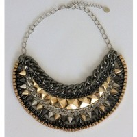 Multi Tone Metal Spiked Chain Necklace
