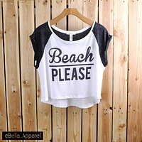 Beach Please - Women's Contrast Short Sleeve, Graphic Print Crop Top