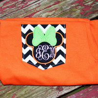 Minnie Mouse Disney  Monogrammed Pocket Tee. Toddler/ Youth & Adult Sizes. Also Available in Short or Long Sleeve
