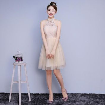 ZX-C3XB#Model shooting 2016 new bridesmaids dresses short  bridesmaid dress sisters graduation banquet  prom dress champagne