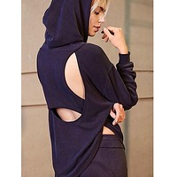 free people - back into it active sport hoodie - black