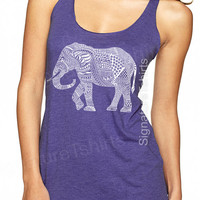 Elephant Tank top. Women's Tank Top. Workout Tank Top. Graphic tank top Elephant shirt cool ethnic animal print fashion tank top vintage tee