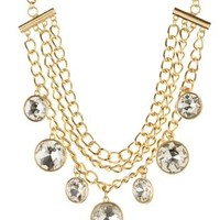 Gold Triple Chain Rhinestone Statement Necklace by Charlotte Russe