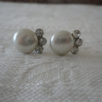 Vintage Pearl Crystal Rhinestone Screw Back Earrings