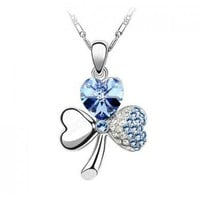 Blue Shamrock Swarovski Crystal Pendant Sterling Silver Necklace