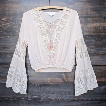 pleased to meet you bell sleeve peasant top - peach