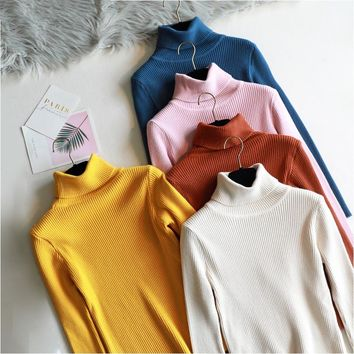 2018 basic Thick Turtleneck Warm Women Sweater Pullovers  Autumn Winter Knitted top High Elasticity Soft Female Sweater Jumper