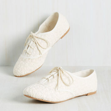 Sign of Things to Fun Flat in Ivory | Mod Retro Vintage Flats | ModCloth.com
