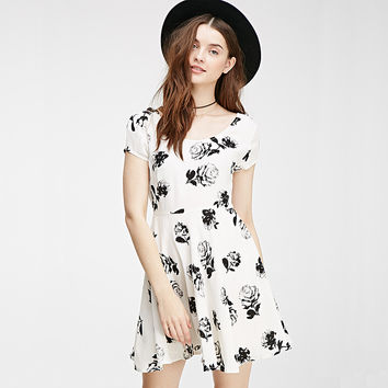 White Rose Print Short-Sleeve Cross Back Dress