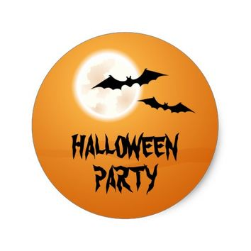 Bats and full moon in orange sky Halloween party Classic Round Sticker