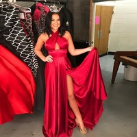 2018 Sexy Red Halter Formal Evening Gown Long Party Dress With High Slit