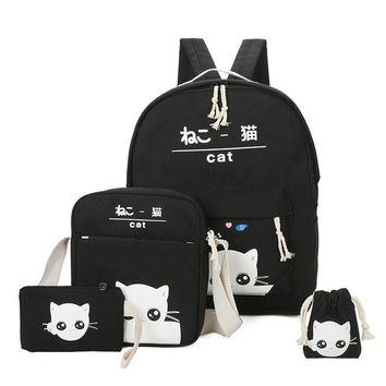 School Backpack 2018 Fashion Cartoon Kitten backpack for ladies High quality canvas school bag for teen girls College 4pcs/set s AT_48_3