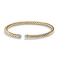 David Yurman - Precious Cable Bracelet with Diamonds in Gold - Saks Fifth Avenue Mobile