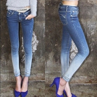 Women's fashion jeans butt-lifting gradient color high waist denim skinny  female blue casual jeans = 1930249028