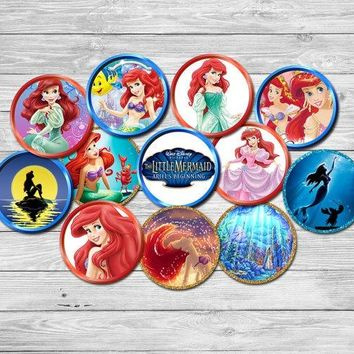 Princess Little Mermaid Party Circles Sticker Birthday Party Decorations Candy Tag Kids Sticker for Birthday Cupcake Toppers