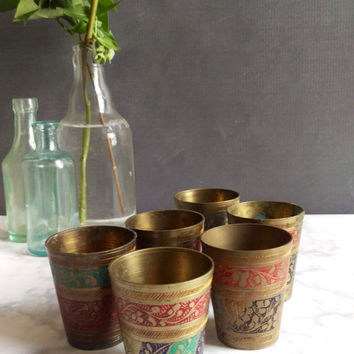 Brass Sake Cups/ Vintage Sake Cups/ Brass Tea Light Holders/ Vintage Brass Cups/Engraved Brass/ Metal Shot Glasses/ Brass bud vase