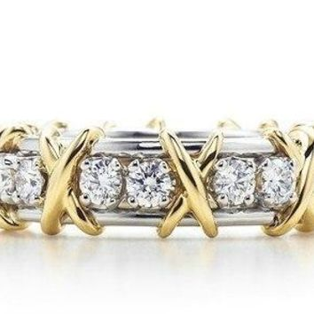 Art Deco X Love Round Cut Synthetic Diamonds Female Ring Solid 925 Sterling Silver Gold Color Wedding Jewelry
