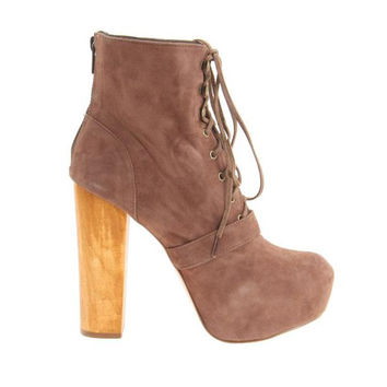 Steve Madden Carnaby - Taupe Suede Platform Bootie