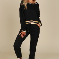 Stripe Detailed Jogging Pants Black
