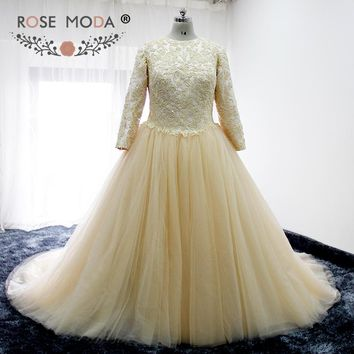 Rose Moda Vintage High Neck Long Sleeves Champagne Wedding Dress Fully Beaded Lace Corset Plus Size Muslim Wedding Dresses