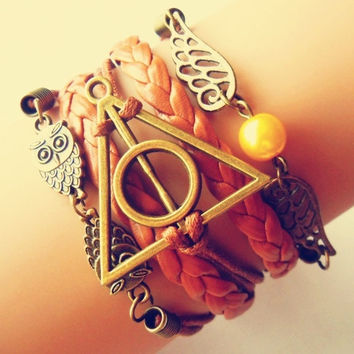 Vintage Owl & Angel Wings Harry Potter multilayer Leather Strap Bracelet = 1651263300