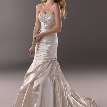 2014 new beach wedding dress/ cream sweetheart beading wedding dresses/bridal gown/ lace up back wedding dresses/satin mermaid wedding dress