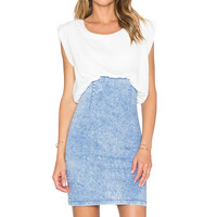 WYLDR Dazed Denim Dress in Ivory & Denim