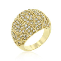 Goldeneye Clear Cubic Zirconia Cocktail Ring, size : 10
