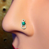 Boho Nose Stud with Hedge Mazes Green Malachite Bead