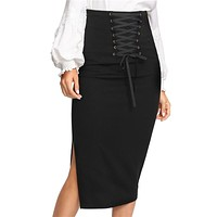 Grommet Lace Up Split Midi Skirt High Waist Full Length Bodycon Skirt  Zipper Women Elegant Skirt