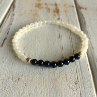 Genuine Moonstone & Black Tourmaline Bracelet w/ Sterling Silver Round Spacers