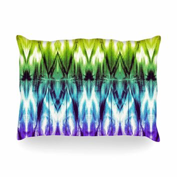 "Nina May ""Rainbow Argyle Shibori"" Multicolor Abstract Diamond Mixed Media Watercolor Oblong Pillow"
