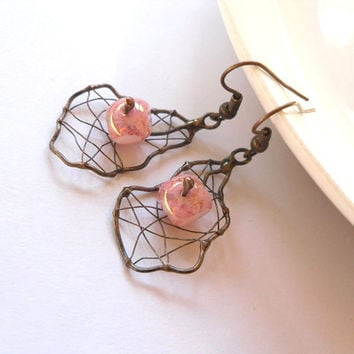 Copper wire earrings, contemporary dangle earrings, artistic earrings, beaded pink jewelry, funky