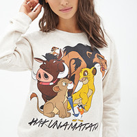 FOREVER 21 Lion King Graphic Sweatshirt Oatmeal/Black