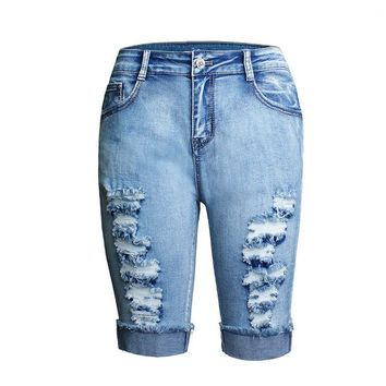 Denim Jeans Hole Stretch High-Waist Skinny Blue Washed Slim Bodycon Pencil Shorts