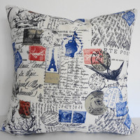 Postcard  Pillow Throw Cover - Decorative Traveler Stamp Pillow Cover in Red, White and Blue 18 x 18, Paris