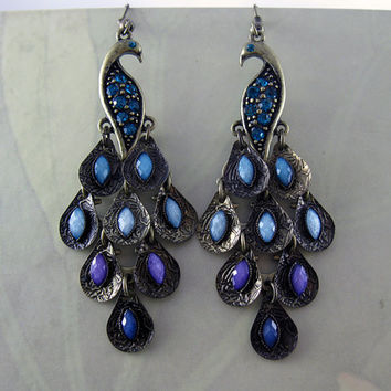 Lovely Peacock Earringsin Dark blue, light blue,purple Iridescent stones