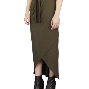 Long Faux Wrap Skirt With Pockets - Sale