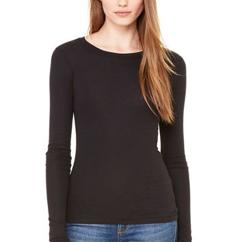 Bella Sheer Rib Long Sleeve Babydoll Tee Shirt Top