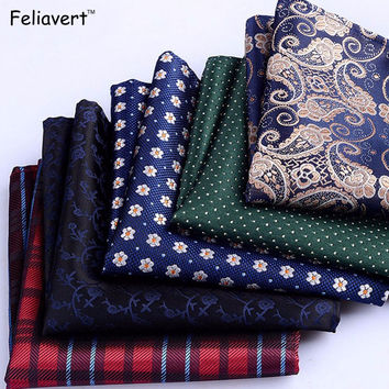 Men Brand Pocket Towel Polyester Handkerchief Scarves Vintage Embroidery Floral Printed Pocket Square Wedding Hankies Fit Jacket